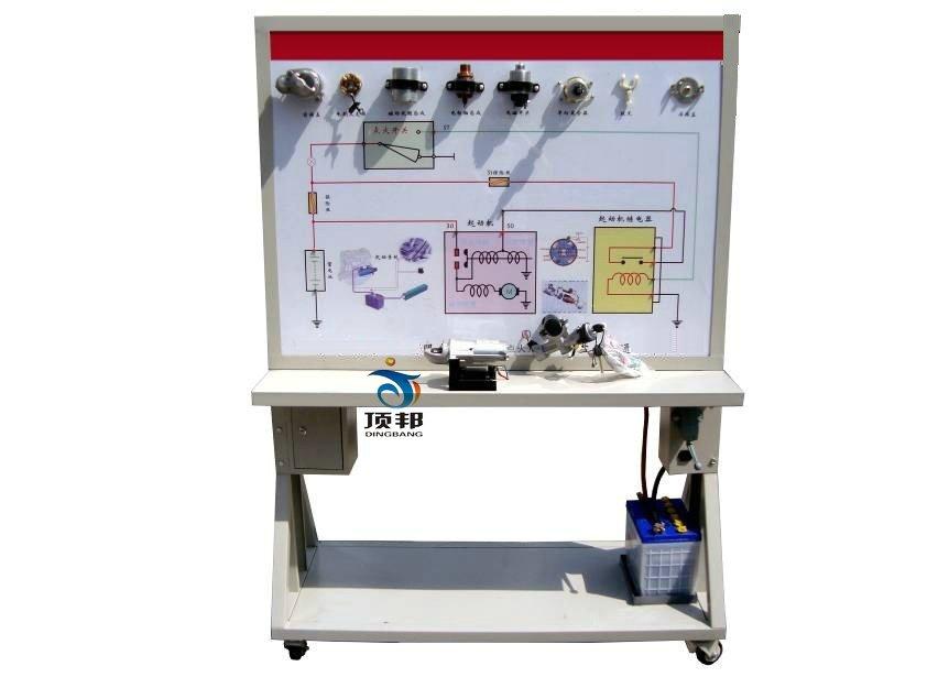 展示拖拉机起动系统的结构与原理;面板上绘有起动系统的电路图,设置有